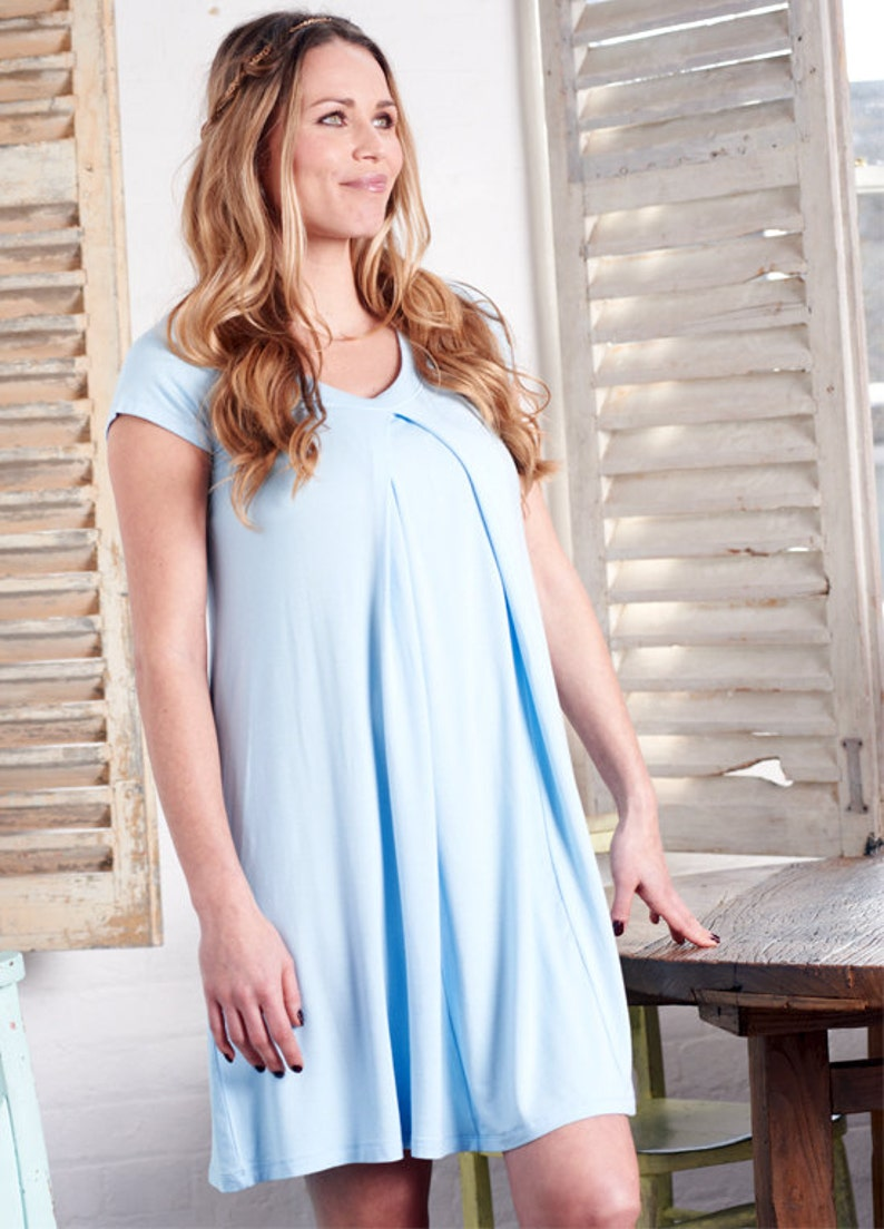 1040d737865ad Lara Blue Hospital Nursing Maternity Gown with Breastfeeding | Etsy
