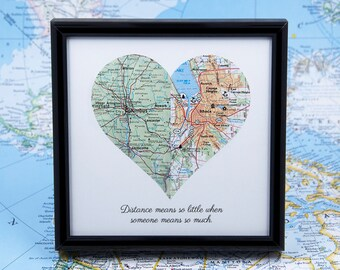 Long Distance Relationship Map Heart Personalized Boyfriend Gift Romantic Gifts For Him LDR Couples Deployment