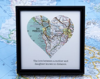 Mother Daughter Gift Mothers Day Mom Birthday Personalized Distance Grandma Long Framed Map Heart In Law