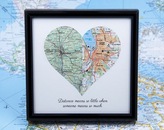 Long Distance Relationship Map Heart Personalized Map Long Etsy
