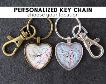 Personalised Keyring Girlfriend Gift for Her Custom Map Heart Gifts for Travelers Wanderlust Sister Gift Ideas College Student Gift