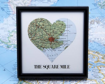 London Map Square Mile London Art Vintage Map Heart Wanderlust Travel Map Gifts for Travelers Atlas Rustic Home Decor Housewarming Gift