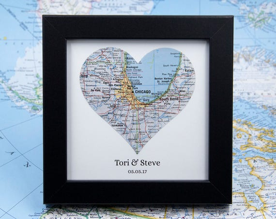 Custom Map Art Valentine Day Gift For Him Newlywed Gift Etsy