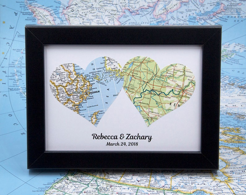 Long Distance Maps Romantic Gifts For Her 1 Year Anniversary Etsy