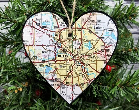 Dallas Texas Map Heart Ornament Christmas Stocking Stuffer