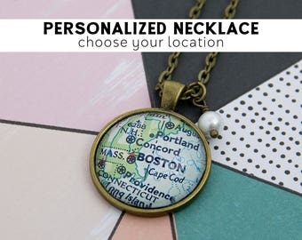 Custom Map World Map Necklace Gifts for Travelers Coordinates Necklace Wanderlust Adventure Awaits Wife Christmas Gift Travel Map Jewelry