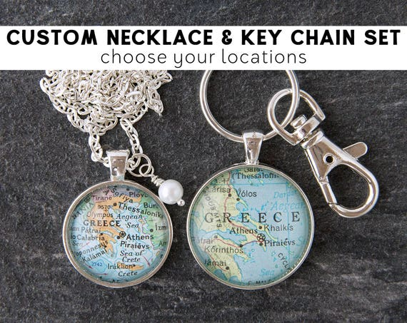 Couples Necklace Couples Keychain Gift Set Long Distance  3b3f0a4b0af4