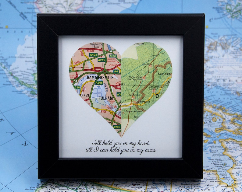 Romantic Gift for Long Distance Relationship Framed Map Heart image 1