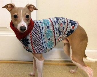 "Italian Greyhound Sweater. ""Winter Wonderland Sweater"" - Italian Greyhound sizes"