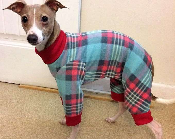 Pajama For Dog - Christmas Pajamas For Dog - Sweet Plaid - Italian Greyhound and Small Dog Clothing