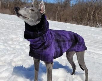 Greyhound Coat - Greyhound Winter Coat - Purple & Black Large Plaid Cocoon Coat - Fleece Dog Coat - Greyhound Sizes