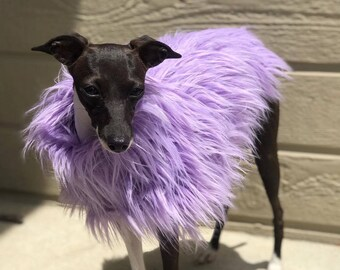 Italian Greyhound clothing - Lavender Faux Fur Jacket
