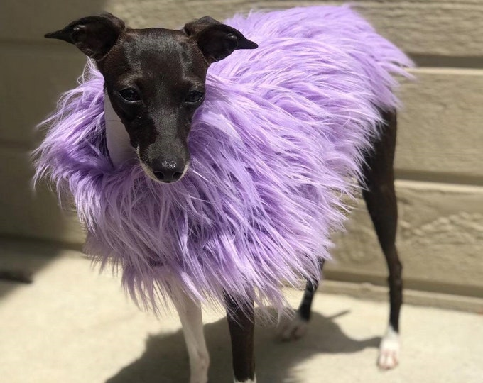 Italian Greyhound Clothing - Lavender Faux Fur Jacket - Girl Dog Clothing - Jacket for Italian Greyhound