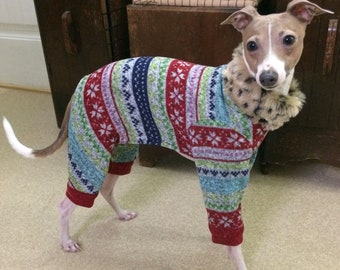 Italian Greyhound Clothing - Dog Pajamas - Ugly Christmas Leisure Suit - Italian Greyhound and small dog sizes