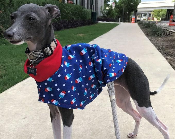 Italian Greyhound Clothing - Italy Greyhound - Dog Clothing - Iggy Clothing - Patriotic Popsicles - Italian Greyhound Sizes