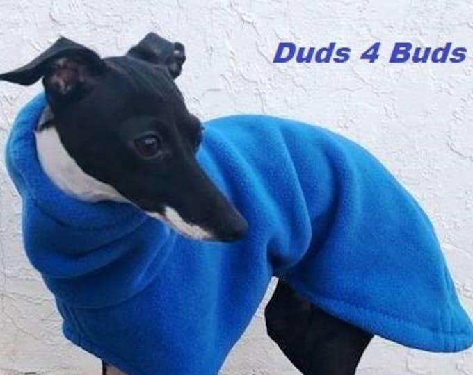 Italian Greyhound Coat - Italian Greyhound Clothing - Dog Coat - Blue Fleece Hoodie - Fleece Dog Coat - Small Dog Clothing - Dog Apparel