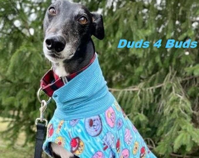 Greyhound Clothing - Coat for Greyhound - Happy Desserts Daycoat/Short Jacket - Greyhound Sizes