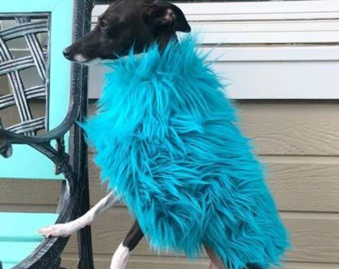 Italian Greyhound Clothing - Jacket for Italian Greyhound - Girl Dog Clothes - Aqua - Girl Dog Clothing - Iggy Duds - Fur Coat for Dog