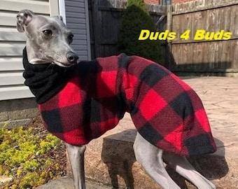Italian Greyhound Clothing - Itailian Greyhound Coat - Lumberjack Plaid Hoodie - Italian Greyhound sizes