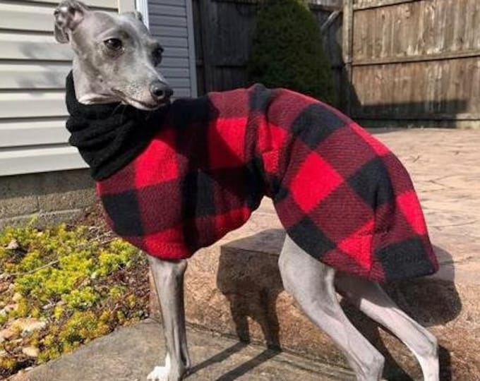 Italian Greyhound Clothing - Itailian Greyhound Coat - Lumberjack Plaid Hoodie - Italian Greyhound sizes