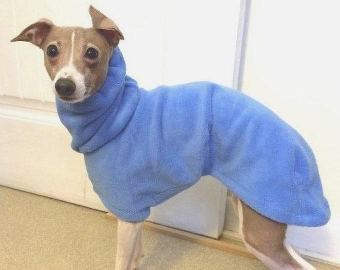 "Italian Greyhound Coat. ""Teal/Gray Lattice Hoodie"" - Italian Greyhound sizes"