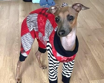 Italian Greyhound Clothing - Dog Pajama - Christmas for Dog -Marty Moose PJ - Small Dog Clothes - Onesie for Dog