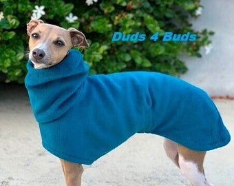 Italian Greyhound Coat - Italian Greyhound Clothing - Dog Coat - Aqua Teal Luxe Hoodie - Fleece Dog Coat - Dog Clothing - Dog Apparel