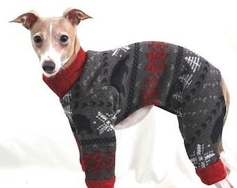 Italian Greyhound Clothing - Pajama For Dog - Red Bear Sweater Jumper - Italian Greyhound and Small Dog Clohting