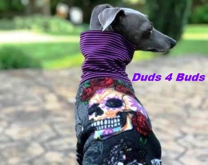 Italian Greyhound Clothing - Dog Halloween - Italian Greyhound Coat - Skull & Roses - Small Dog Clothes