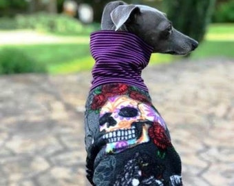Italian Greyhound Clothing - Italian Greyhound Coat - Skull & Roses - Small Dog Clothes