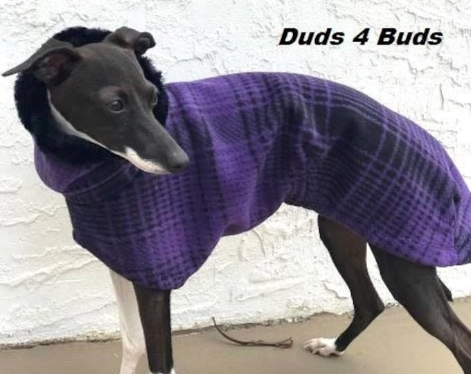 Italian Greyhound Coat - Italian Greyhound Clothing - Purple & Black Large Plaid Coat - Fleece Dog Coat - Italian Greyhound Sizes