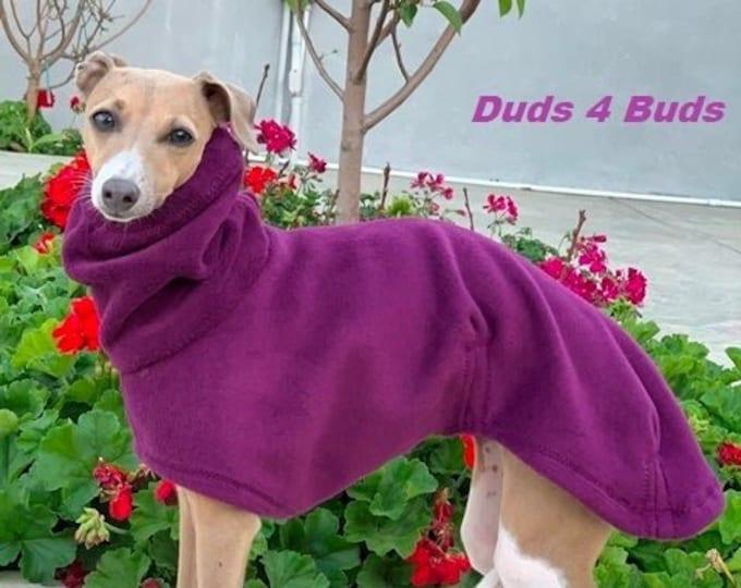 Italian Greyhound Coat - Italian Greyhound Clothing - Dog Coat - Passion Plum Luxe Hoodie - Fleece Dog Coat - Dog Clothing - Dog Apparel