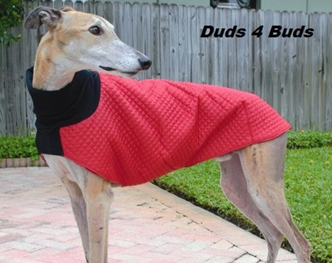 Lined Greyhound Coat - Winter Coat For Greyhound - Red Quilted Nylon - Greyhound
