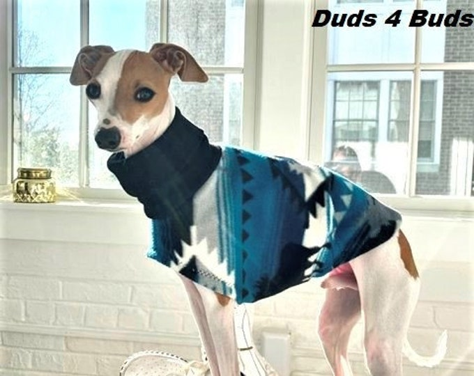 Italian Greyhound Clothing - Blue Aztec - Coat for Italian Greyhound - Dog Clothing - Pet Clothing - Small Dog Clothes - Dog Jacket - Vest