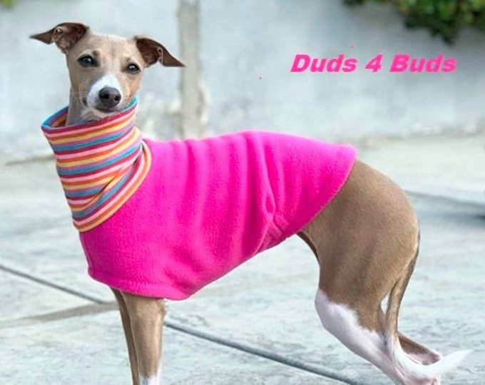 Italian Greyhound Clothing - Fleece Dog Coat - Pretty In Pink - Dog Clothing - Pet Clothing - Small Dog Clothes - Dog Jacket - Dog Coat