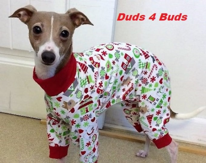 Christmas Pajama For Dog - Pajama For Dog - Santa's Little Helper Pajamas in White - Italian Greyhound and Small Dog Clothing