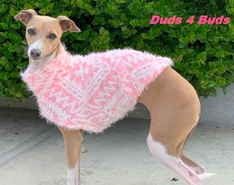 Italian Greyhound Sweater - Pink snowball - Sweater for Dog - Small Dog Sweater - Small Dog Clothes - Pet Apparel - Small Dog Apparel