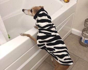 """Italian Greyhound Clothing.  """"Le Zebra After Bath Jacket"""" - Italian Greyhound sizes"""