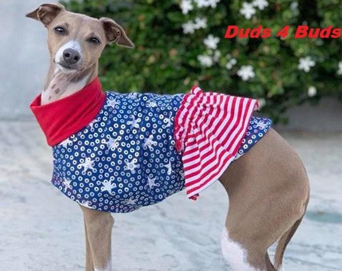 Dog Dress - Italian Greyhound Clothing - Dog Clothing - Italy Greyhound - Patriotic Party Dress - Italian Greyhound Sizes