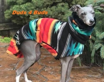 Italian Greyhound Coat - Italian Greyhound Clothing - Aztec Blanket Hoodie w/Faux Fur - Fleece Dog Coat - Italian Greyhound Sizes