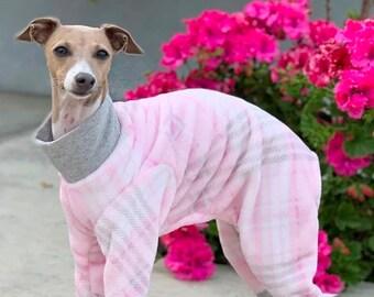 Italian Greyhound Clothing - Dog Pajamas - Onesie for Dog - Pink Gray Plaid - Italian Greyhound and small dog sizes