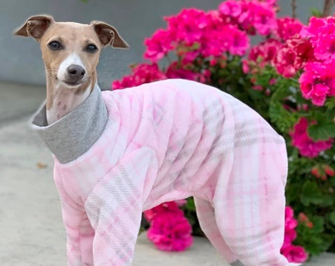 Italian Greyhound Clothing - Dog Pajamas - Onesie for Dog - Pink Gray Plaid - Italian Greyhound and small dog sizes