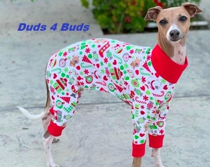 Italian Greyhound Clothing - Christmas Pajama For Dog - Dog Pajama - Small Dog Clothes - Onesie For Dog - Pet Clothing - Ugly Christmas