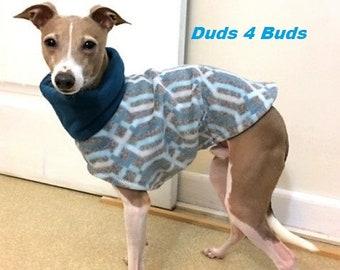 Italian Greyhound Clothing - Italian Greyhound Coat - Dog Clothing - Teal Lattice - Pet Clothing - Small Dog Clothes - Dog Jacket