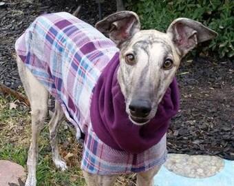 "Greyhound Coat -  ""Heavy Plum Plaid Cocoon Coat"" - Winter Coat for Greyhound - Dog Coat - Greyhound Sizes"
