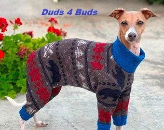 Dog Pajamas - The Blue Bear Sweater Jumper - Pajama For Dog - Italian Greyhound and Small Dog Sizes