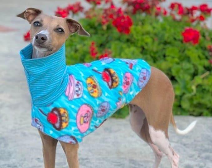 Italian Greyhound Clothing - Dog Halloween - Italian Greyhound Coat - Happy Desserts - Small Dog Clothes