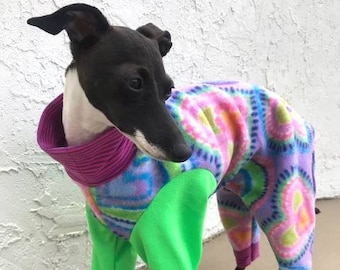 "Dog Pajamas. ""Lavender Hearts"" Jumper - Italian Greyhound and small dog sizes"