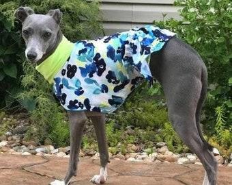 Dog Dress - Italian Greyhound Clothing - Dog Clothing - Italy Greyhound - Blue Watercolors - Italian Greyhound Sizes