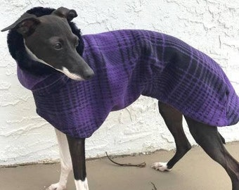 Italian Greyhound Coat - Italian Greyhound Clothing - Purple & Black Large Plaid Coat - Fleece Dog Coat - Italian Greyhound Sizes